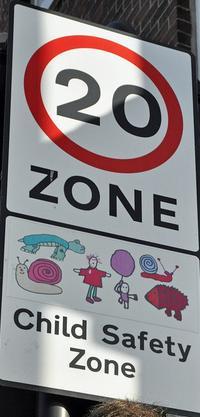 20 MPH zone sign