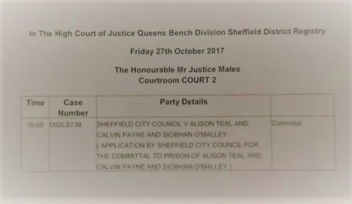 """The court listing stating """"Application by Sheffield City Council for the committal to prison of Alison Teal, Calvin Payne and Siobhan O'Malley"""""""