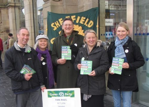 Green Party campaigners at Sheffield railway station: (l-r): Cllr Douglas Johnson, Rachel Hardy, Peter Garbutt, Natalie Bennett, Cllr Alison Teal