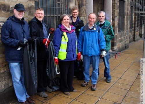 Green Party activists helped the Friends of the Old Town Hall with a litterpick in Waingate