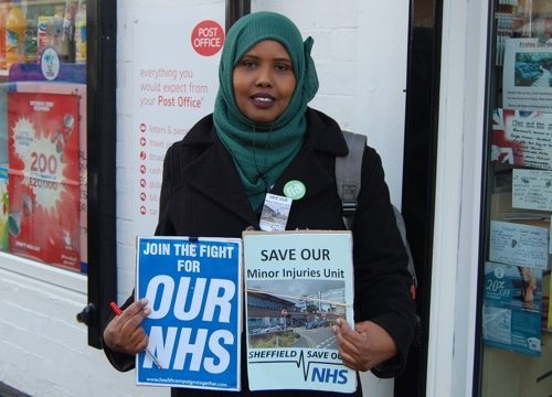 Kaltum Rivers campaigning to save the Minor Injuries Unit
