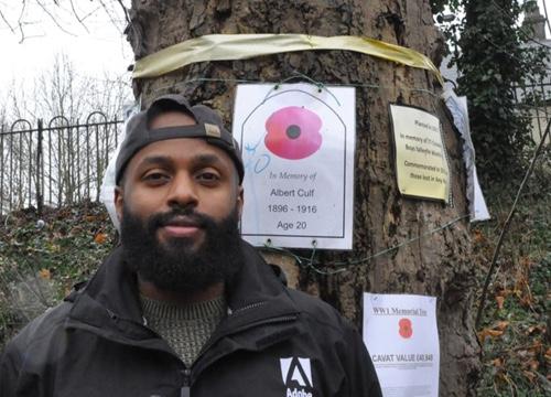 Cllr Magid at the war memorial trees