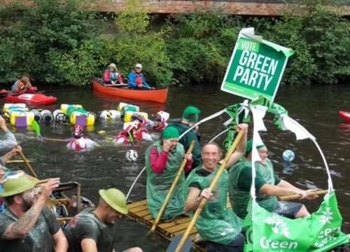 Green Party sailors took to the water at Kelham Island Raft Race