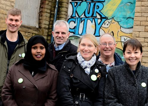 Council candidates with Caroline Lucas