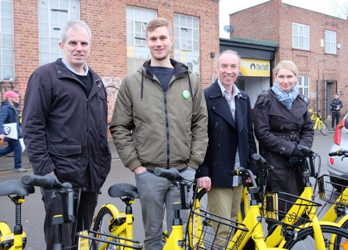 Cllr Rob Murphy, Martin Phipps, Cllr Douglas Johnson & Cllr Alison Teal at the Ofo launch at The Holt