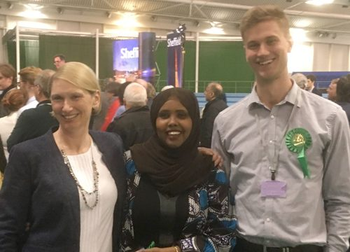 Cllrs Alison Teal, Kaltum Rivers and Martin Phipps ad the election count