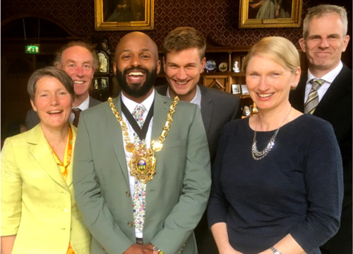 Lord Mayor Magid with (l-r) former Green councillor Jillian Creasy and Councillors Douglas Johnson, Martin Phipps, Alison Teal and Rob Murphy
