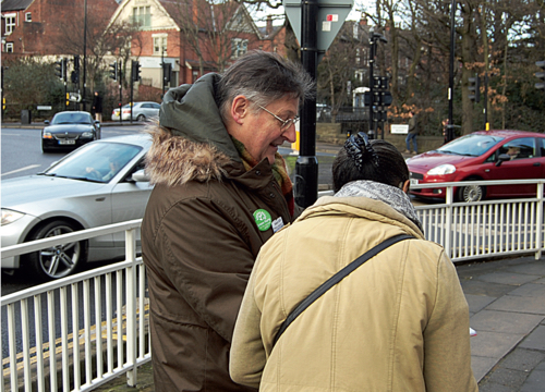 Peter Garbutt collecting MIU petition signatures