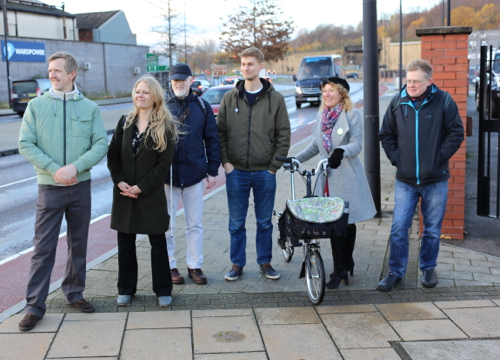 Campaigners with the Green Party leader, Siân Berry, at Derek Dooley Way
