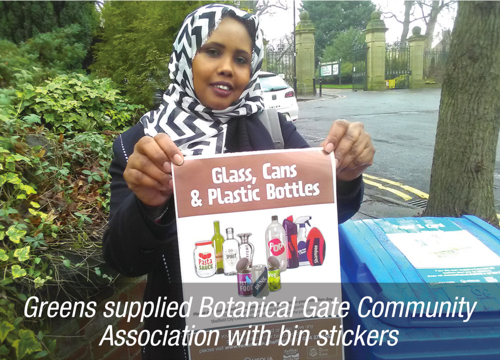Greens supplied Botanical Gate Community Association with bin stickers