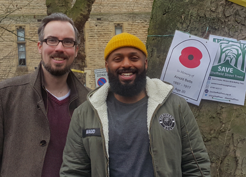 Brian Webster (left) with the Lord Mayor of Sheffield, Magid Magid