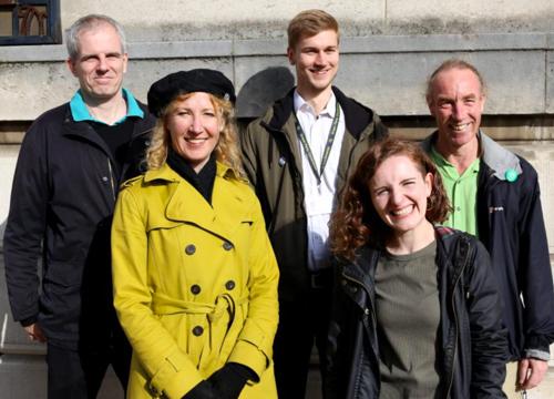 City Ward Greens: (l-r) Cllr Rob Murphy, Ruth Mersereau, Cllr Martin Phipps, Emily Brooke-Davies, Cllr Douglas Johnson