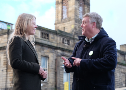 Green Party leader Sian Berry with Brian Holmshaw