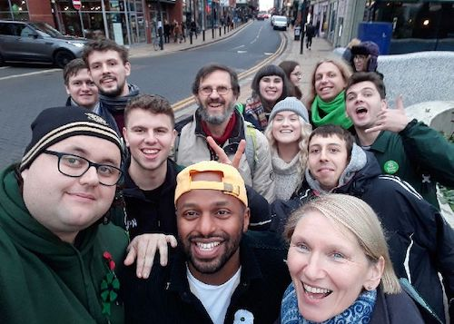 Alison Teal (front right) and Magid Magid MEP (front centre) at a campaign event on Saturday