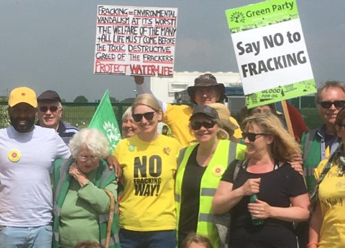 Alison Teal at anti-fracking protest