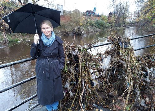 Alison Teal with debris showing height of River Don