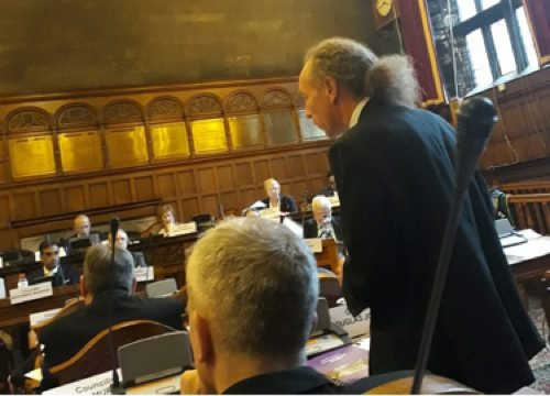 Cllr Douglas Johnson speaking in council