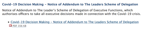 Screenshot ot Covid-19 Decision Making - Notice of Addendum to The Leaders Scheme of Delegation