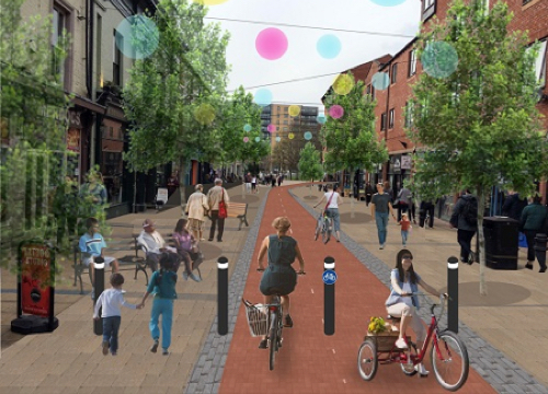 Image of a pedestrianised Division St
