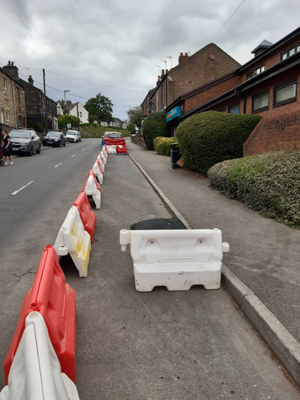 Photo of the temporary footpath widening on Dykes Hall Road