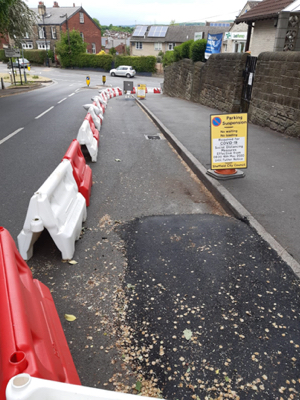 Photo of the temporary footpath widening in Wadsley