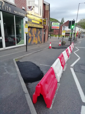 Photo of the temporary footpath widening in Woodseats