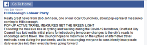 Screenshot of Hillsborough Labour Party post - Pop-ip active travel measures get the green light
