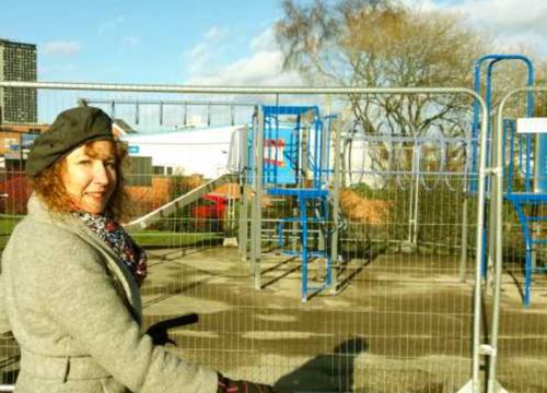 Cllr Ruth Mersereau checking progress of work at Duchess Road Pocket Park