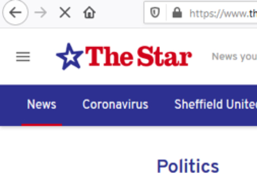Sheffield Star website politics section