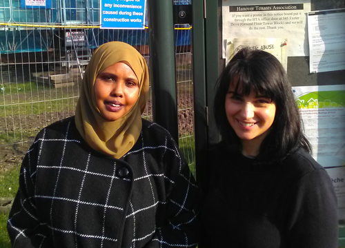 Cllr Kaltum Rivers & Cllr Angela Argenzio on the Hanover Estate
