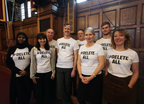 Sheffield Green Party Councillors wearing Delete All tshirts