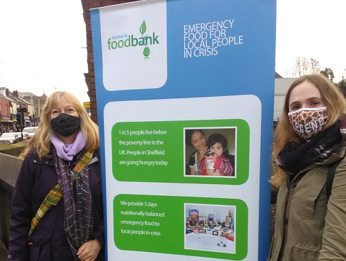 Christine Gilligan Kubo (l) at the S6 Foodbank