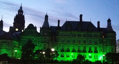 Sheffield Town Hall lit up in green